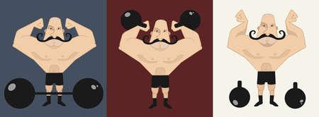 hombre deportista: Enorme audaz, fuerte bigote en diferentes poses, con barra y pesas rusas