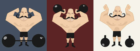 man lifting weights: Huge bold, mustached strongman in different poses, with barbell and kettlebell