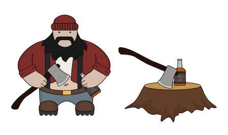 tough man: Funny fat flat style lumberjack ax stump whiskey bottle isolated on white Illustration
