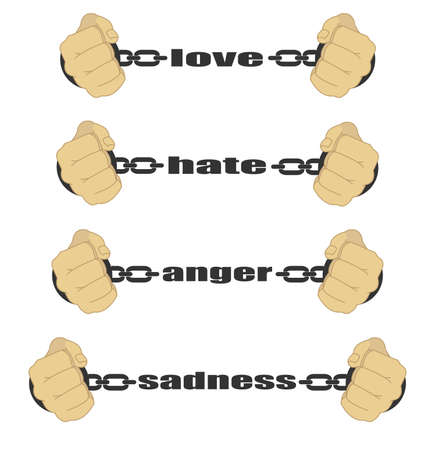 hate: Love, hate, anger, sadness, signs. Man fists in strained chains