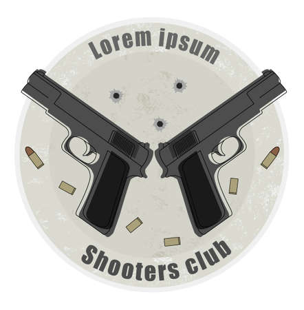 Two pistols and bullets emblem on stone background with bullet holes Vector