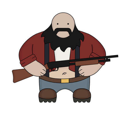 Fat bald round redneck in red shirt with suspenders, jeans, and big boots. Holding shotgun. Black beard. Color illustration isolated on white Vector