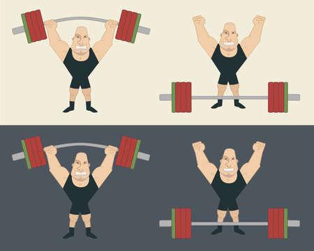 hombre fuerte: Deportista de elevación pesada barra. Atleta de pie con la cara feliz después de entrenamiento Vectores