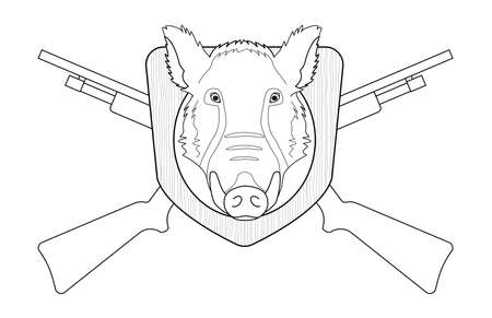 taxidermy: Hunting trophy. Stuffed taxidermy wild boar head with big tusks in wood shield. 2 crossed shotguns. Line-art illustration isolated on white