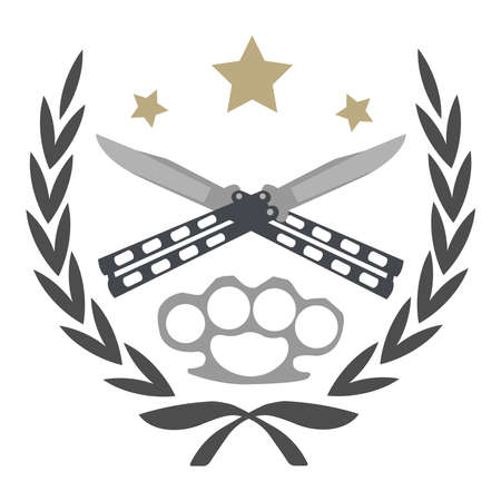 knuckle: Color, no outline,  icon isolated on white with 2 crossed knifes, brass knuckle and stars in laurel wreath frame
