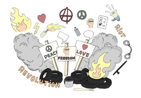 Doodle sketch art. Protest symbols: flames, heart, anarchy, peace, fist, vote, speakerphone, smoke, banners, tires, shackles, baton, baseball bat, police helmet, freedom, revolution, riot. Desaturated Vector