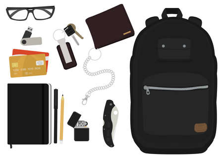 pocket knife: EDC set. Every day carry man items collection: glasses, usb, wallet, backpack, credit card, keys, icon, pencil, pen, lighter, pocket knife