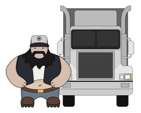 Fat round flat cartoon style black beard truck driver. In trucker cap standing near big cargo car. Color illustration isolated on white