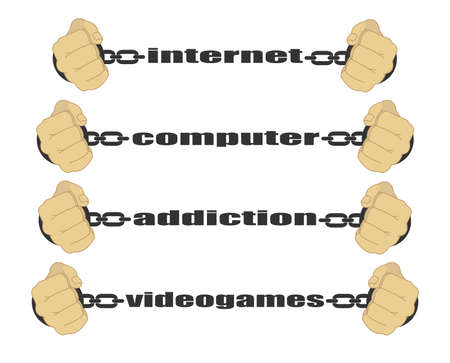 strained: Internet, computer, addiction, video games signs. Man fists in strained chains