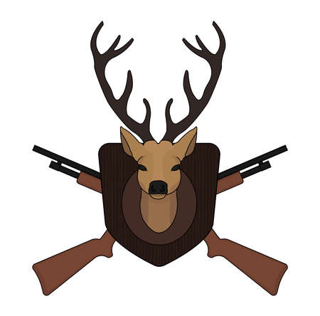 Hunting trophy. Stuffed taxidermy deer head with big antlers in wood shield. 2 crossed shotguns. Color illustration isolated on white Illustration
