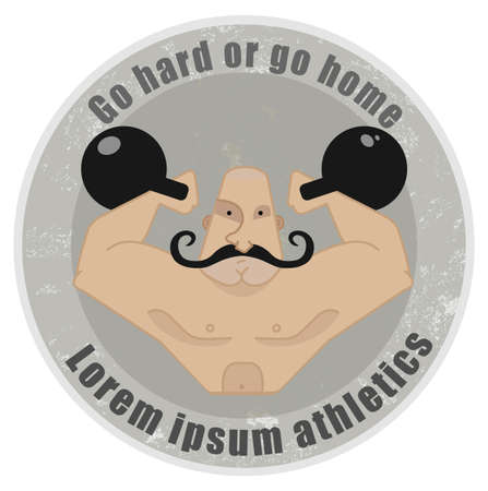 mustached: Stone athletic emblem with huge, bald, mustached strongman holding kettlebell