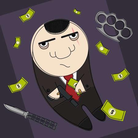 sicario: Asesino a sueldo de la mafia peligroso en divertida ilustraci�n de estilo de dibujos animados