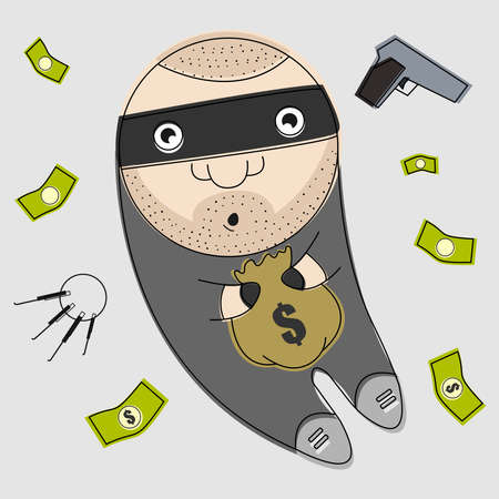 hijack: Funny thief with bag full of money vector illustration