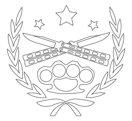 Contour, line art icon isolated on white with 2 crossed knifes brass knuckle and stars in laurel wreath Vector