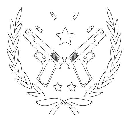 Contour, line art icon isolated on white with 2 pistols, bullets and stars in laurel wreath