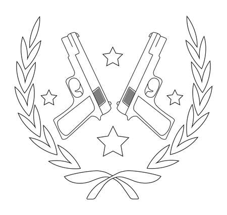 Contour, line art icon isolated on white with 2 pistols and stars in laurel wreath Vector