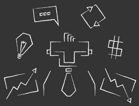 stockbroker: Blackboard line art rectangular business infographics icons