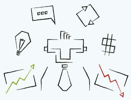 stockbroker: Marker sketch line art rectangular business icons infographics