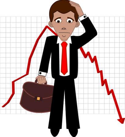stockbroker: Shares fall, sad broker vector illustration