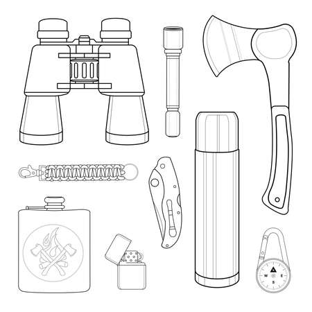 pocket flashlight: Camping set: binoculars, flashlight, ax, survival para cord bracelet, folding pocket knife, aluminum , compass, lighter, flask. Line-art illustration isolated on white