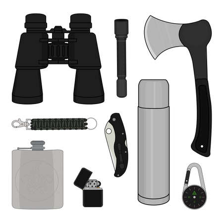 pocket flashlight: Camping set: binoculars, flashlight, ax, survival paracord bracelet, folding pocket knife, aluminium, compass, lighter, flask Illustration