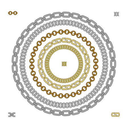 Set of 5 different shapes chains brushes. Gold, metal, steel, iron, bronze, silver. Circles. Color Vector