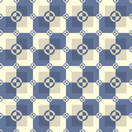 desaturated: Circle and squares vector pattern in blue and sand colors