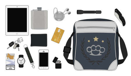 pocket flashlight: EDC set. Every day carry man items collection: tablet computer, flask, mp3 player, flashlight, pocket knife, bag, lighter, mobile phone, bracelet, watch, cigarettes, keys, usb, wallet, credit card