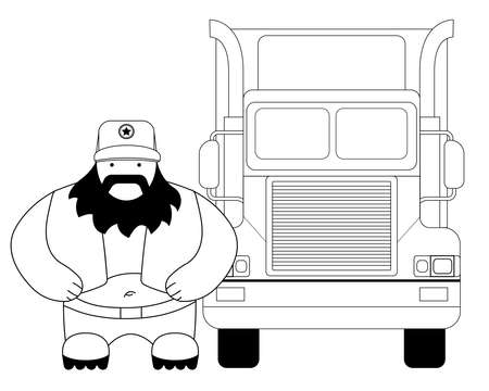 trucker: Fat round cartoon style black beard truck driver. In trucker cap standing near big cargo car. Line-art illustration isolated on white