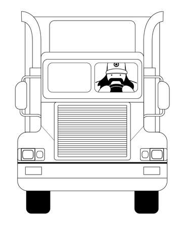 trucker: Fat round flat cartoon style black beard truck driver. In trucker cap sitting inside big cargo car. Line-art illustration isolated on white