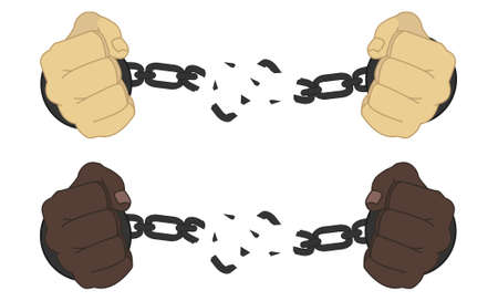 chained link: Male hands breaking steel handcuffs isolated on white