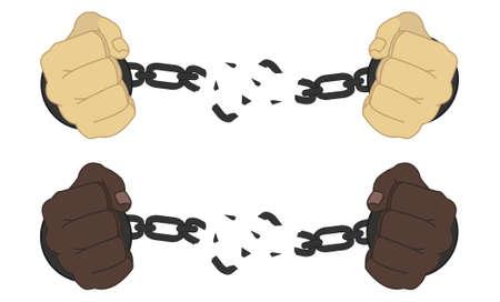 prison break: Male hands breaking steel handcuffs isolated on white