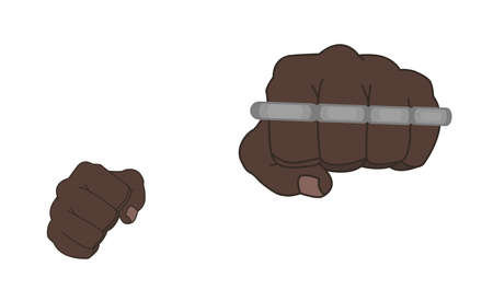 felony: Clenched african american man fists holding brass-knuckle. Front punch. Color illustration isolated on white