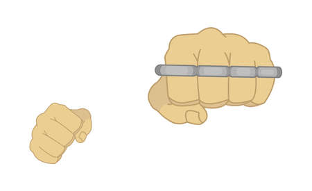 Clenched man fists holding brass-knuckle. Punching. Color illustration isolated on white Vector