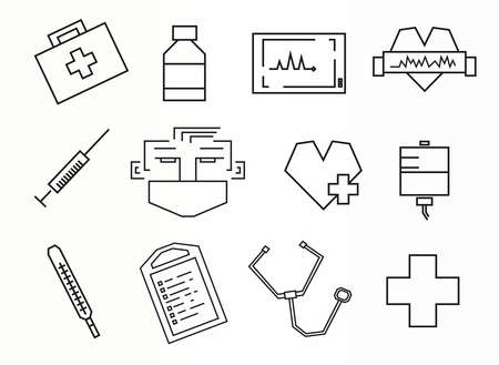 Straight line rectangular style vector medical icons set Vector
