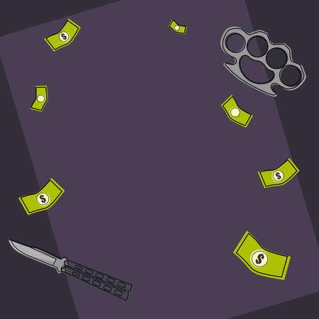 sicario: Estilo de dibujos animados fondo de la postal de la mafia Vectores