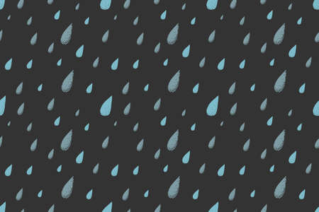 desaturated colors: Rain seamless pattern, dark cold autumn night. Desaturated colors. Big blue raindrops falling from the gray sky