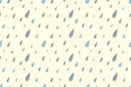 summer day: Lluvia sin patr�n, c�lido d�a de verano brillante. Los colores desaturados. Gotas de lluvia azules grandes que caen del cielo Vectores