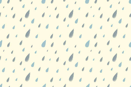 desaturated colors: Rain seamless pattern, shiny warm summer day. Desaturated colors. Big blue raindrops falling from the sky