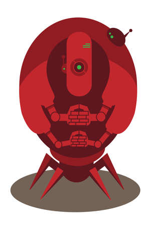 alien robot: Large red alien robot with 4 arms and spider legs isolated on white