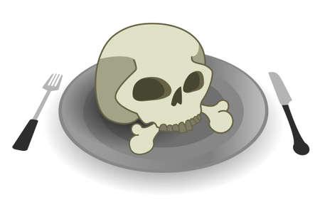 deadly: Deadly meal. Skull on steel plate. Fork and knife Illustration