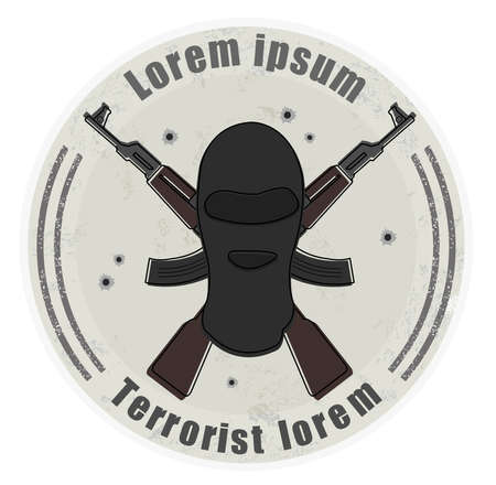 Grunge stone terrorist logo with balaclava mask and 2 crossed rifles. Bullet holes. Isolated on white Vector
