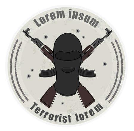 organized group: Grunge stone terrorist logo with balaclava mask and 2 crossed rifles. Bullet holes. Isolated on white Illustration