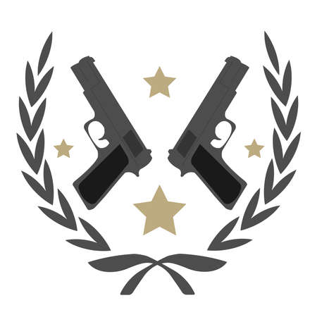 Color, no outline,  logo isolated on white with 2 pistols and stars in laurel wreath frame Illustration