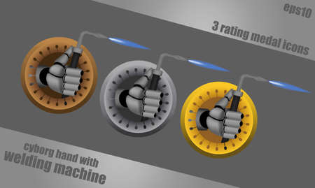 Bronze, silver, gold, vector rating icons on steel background with cyborg hand holding welding machine Vector