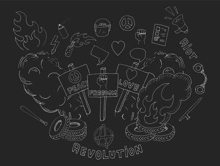 Doodle sketch art. Protest symbols: flames, heart, anarchy, peace, fist, vote, speakerphone, smoke, banners, tires, shackles, baton, baseball bat, police helmet, freedom, revolution, riot. Chalk