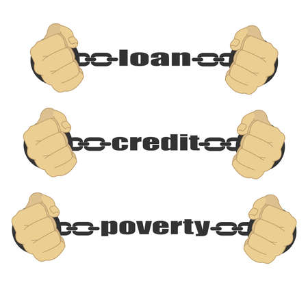 Loan, credit, poverty abstract signs. Man fists in strained chains