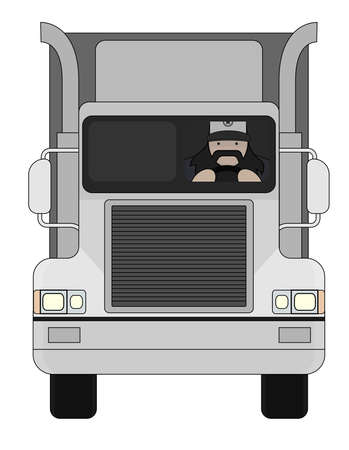 trucker: Fat round flat cartoon style black beard truck driver. In trucker cap sitting inside big cargo car. Color illustration isolated on white Illustration