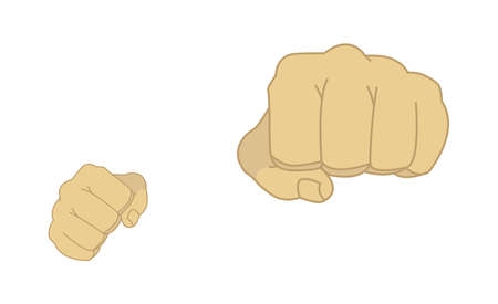 felony: Clenched man fists in fight stance. Ready to fight. Color illustration isolated on white Illustration