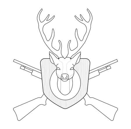 taxidermy: Hunting trophy. Stuffed taxidermy deer head with big antlers in wood shield. 2 crossed shotguns. Line-art illustration isolated on white